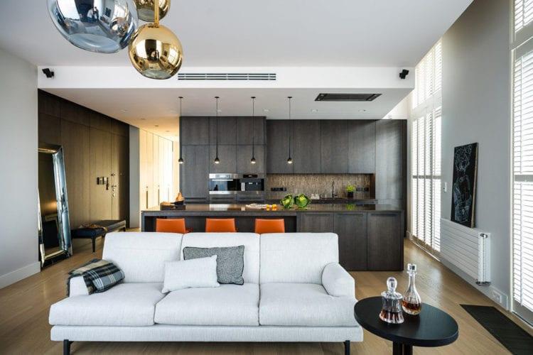Дизайн гостиной 30 кв. м хай-тек