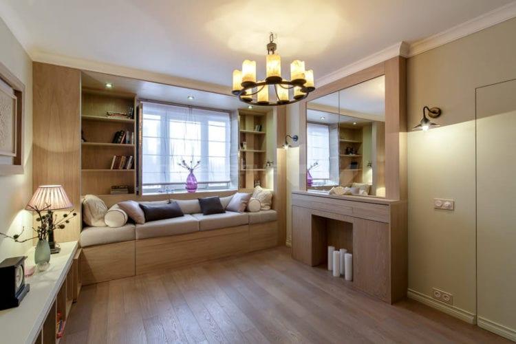 Интерьер спальни-гостиной 14 кв.м