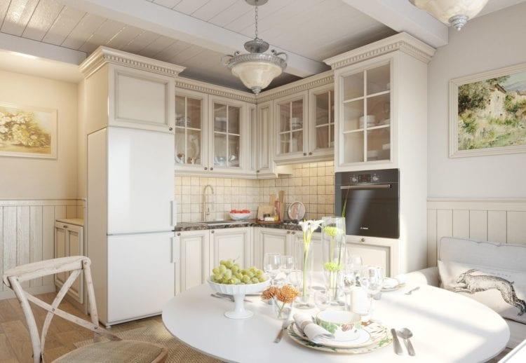 Кухня-гостиная 12 кв. м. Прованс