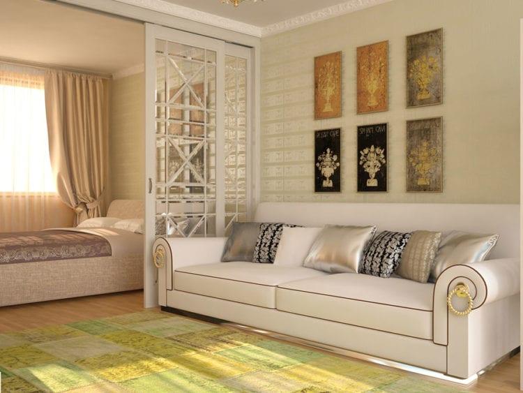 Дизайн спальни-гостиной в 14 кв. м с двумя функциональными зонами