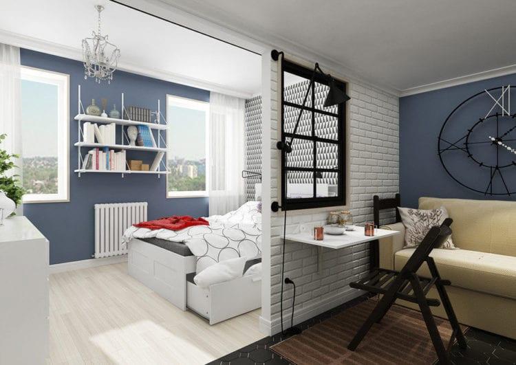 Дизайн спальни-гостиной 24 кв. м.