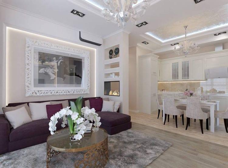 Дизайн кухни-гостиной 24 кв. м