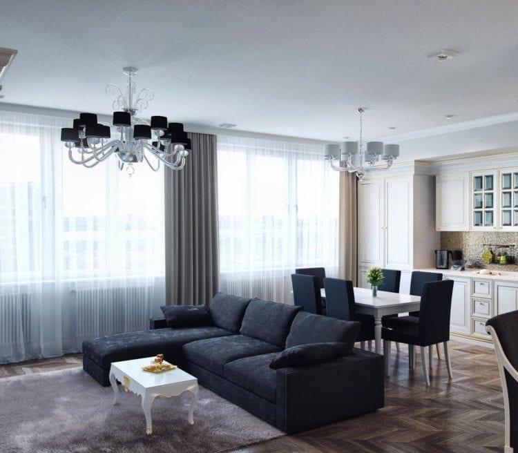 Кухня-гостиная в 40 кв. м в частном доме: дизайн в стиле классицизм