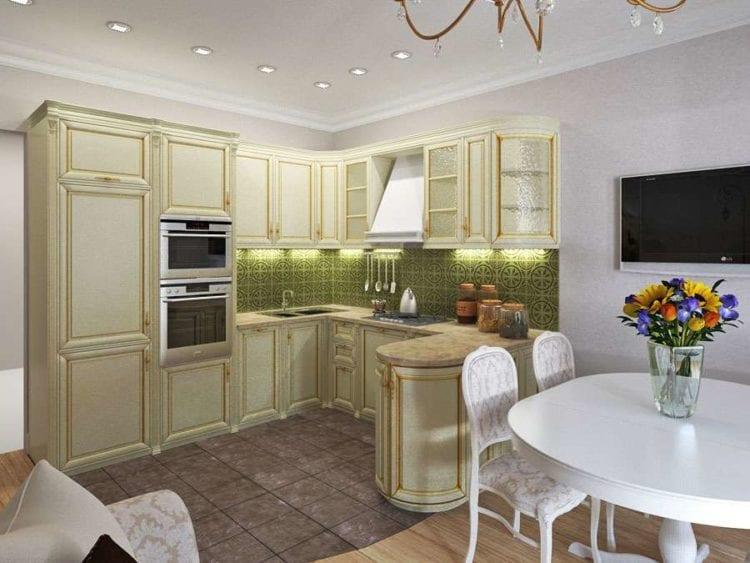 Дизайн кухни гостиной 12 кв.м