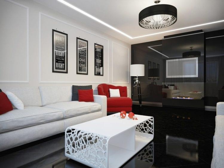 Черно-бело-красная гостиная