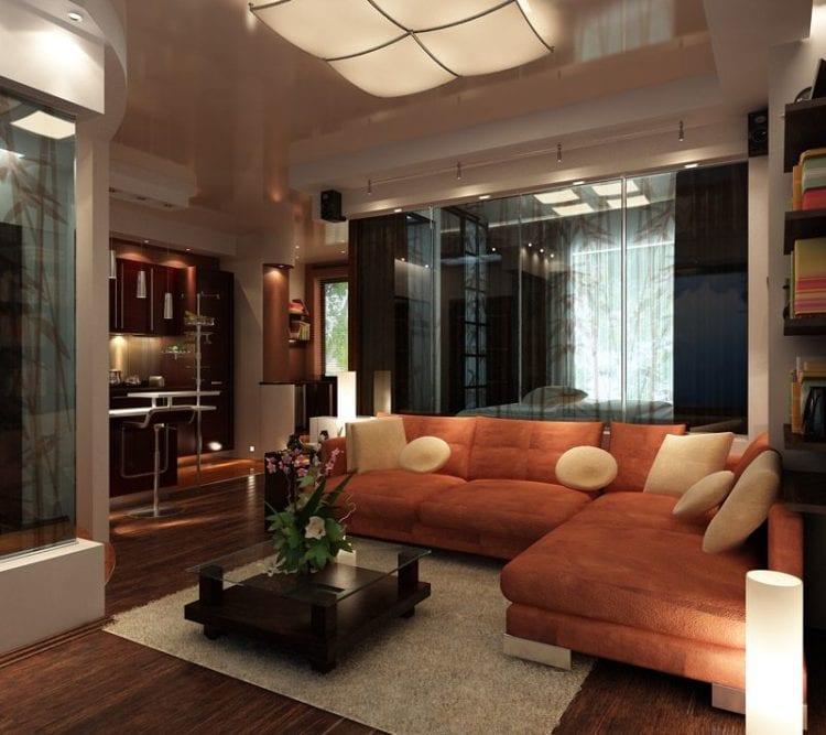 Дизайн зала в 24 кв. м. в квартире
