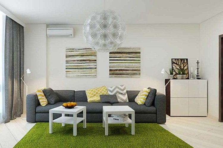 Серый диван в белом интерьере