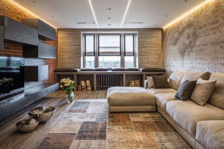 Дизайн гостиной 30 кв. м Лофт