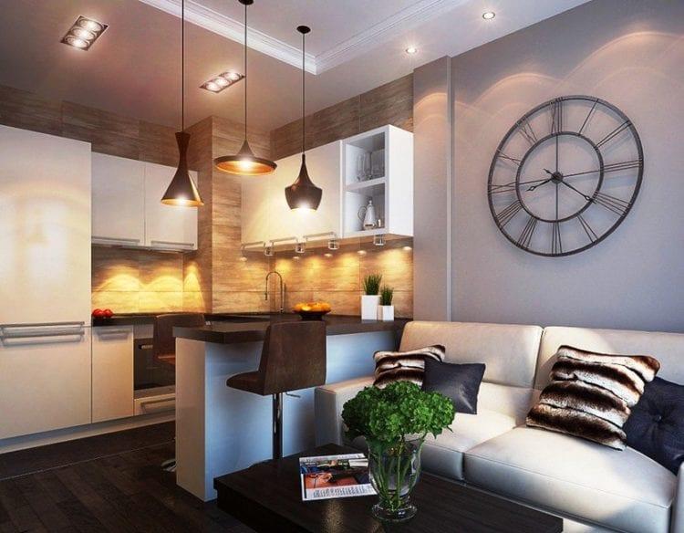 Дизайн кухни-гостиной в 17 кв. м с зонированием в стиле модерн