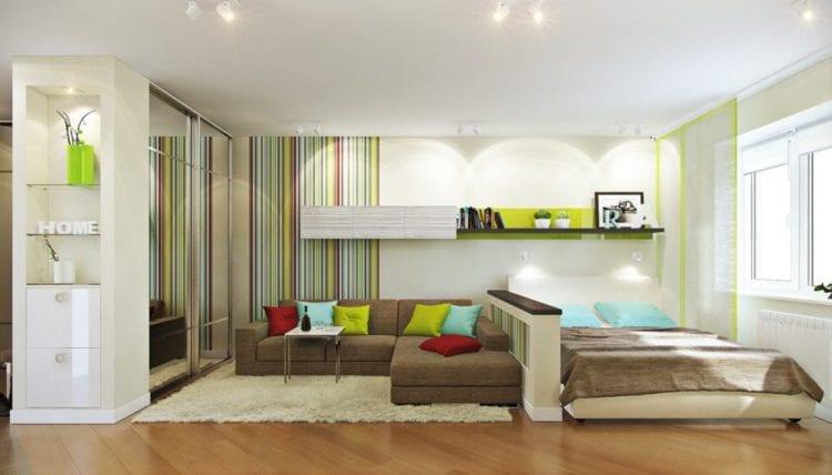 Спальня гостиная зонирование
