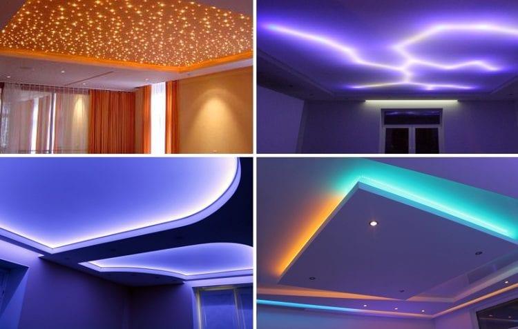 Варианты потолка из гипсокартона с подсветкой и натяжным полотном
