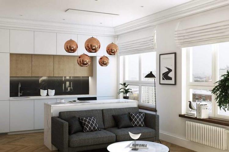 Интерьер гостиной, совмещенной с кухней, в стиле минимализм