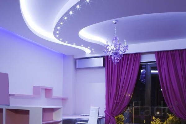 Освещение натяжных потолков в зале люстрой
