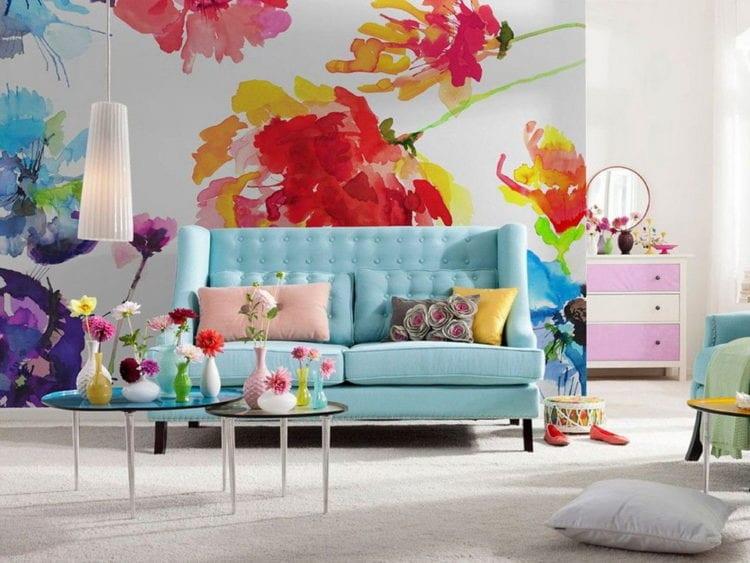 Обои с цветами в интерьереОбои с цветами для стенЦветы на стене в интерьереОбои с крупными цветами для стен