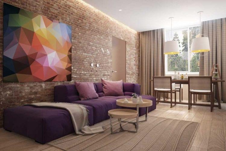 Гостиная 20 кв. м. в стиле лофт