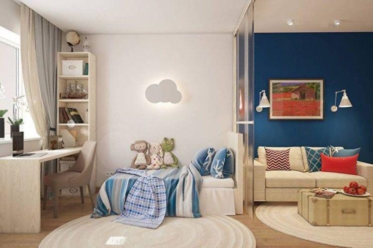 Гостиная и детская в одной комнате