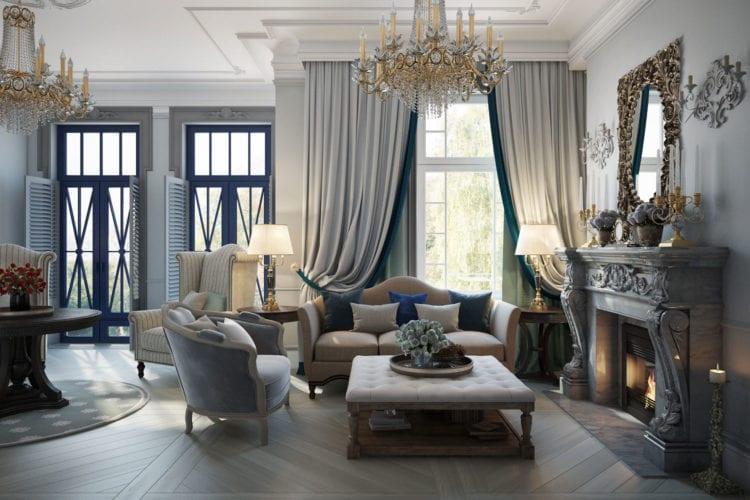 Интерьер гостиной в сером цвете в классическом стиле