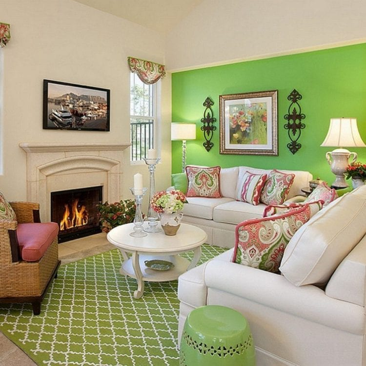 Зелено-белая гостиная