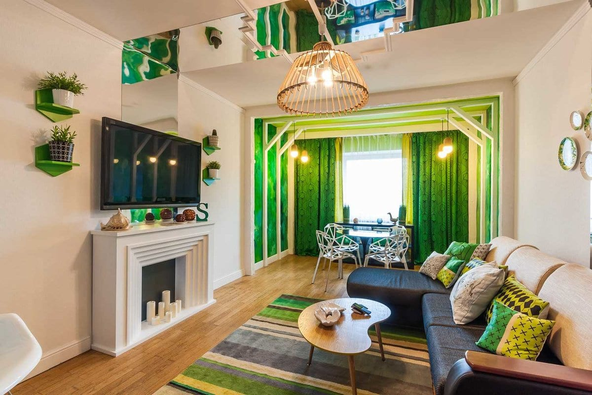 Гостиная в зеленых тонах