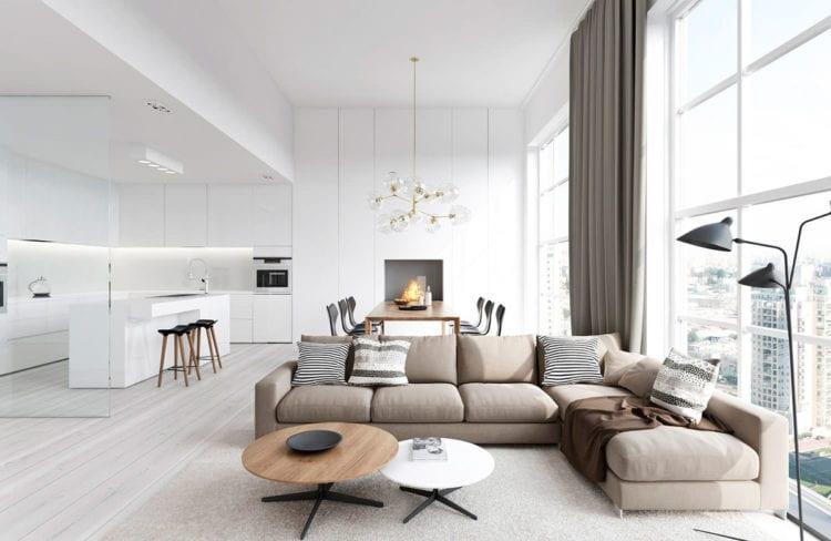 Дизайн гостиной с аркой и барной стойкой