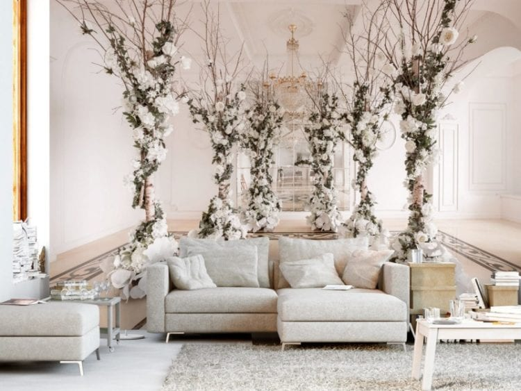 Фотообои в гостиную с цветами белого цвета