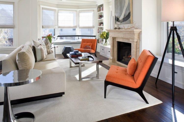 Серый и оранжевый в интерьере