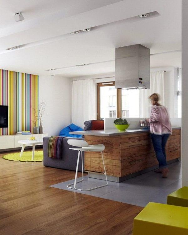 Кухня-гостиная в 18 кв. м в современном стиле