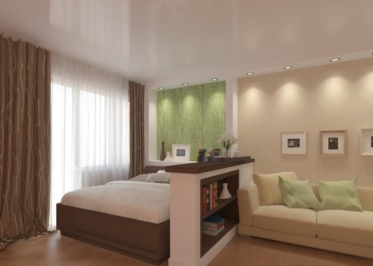 Современный дизайн спальни с гостиной 17 кв. м