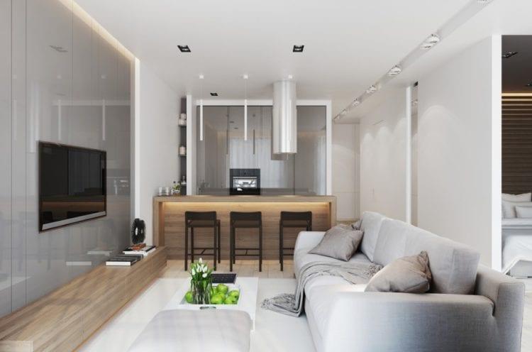 Интерьер гостиной в 20 кв. м в квартире с насыщенной палитрой в отделке