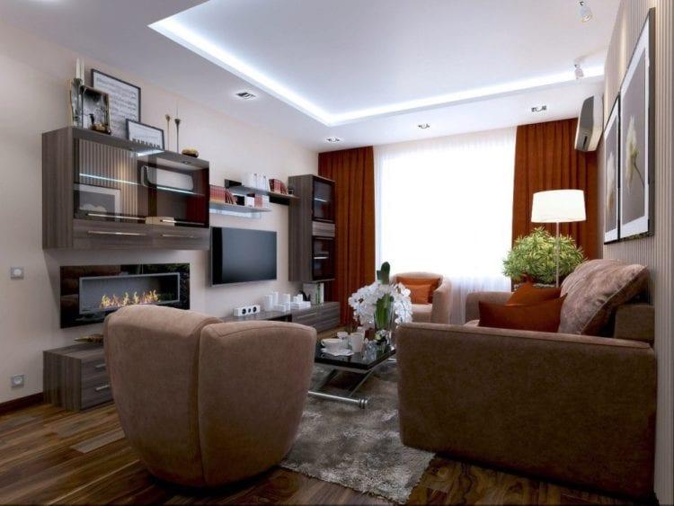 Дизайн гостиной комнаты в 19 кв. м в панельном доме