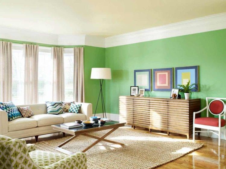 Дизайн гостиной в зеленых тонах в современном стиле