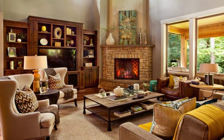 Дизайн углового камина в гостиной