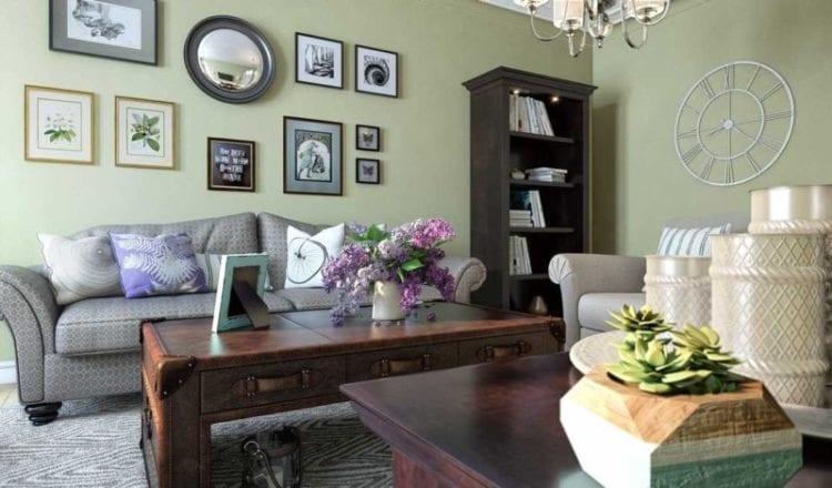 Оливковая гостиная с древесным цветом-компаньоном