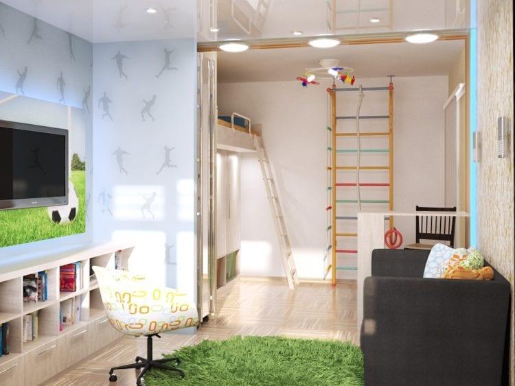 Зал и детская в одной комнате