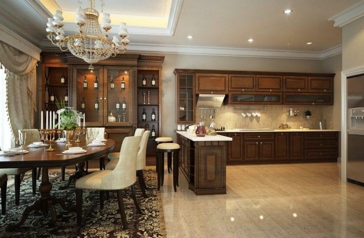 Дизайн объединенной с гостиной кухни с барной стойкой