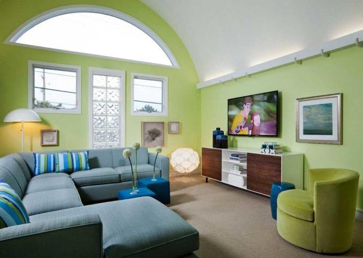 Светло зеленые стены в интерьереЗеленые стены в интерьере гостинойСине-зеленый интерьерСочетание синего и зеленого в интерьере