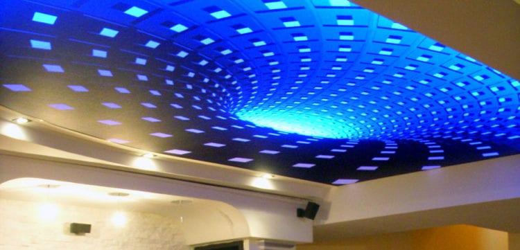 3D-натяжные потолки в зале