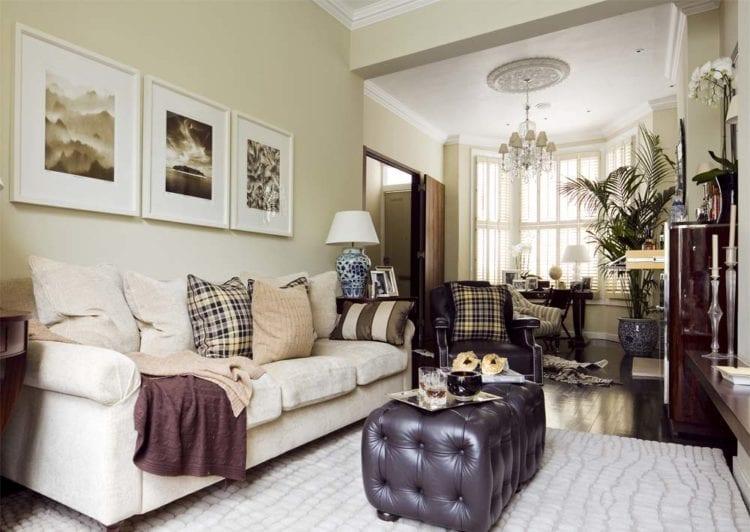 Дизайн стены над диваном в гостиной