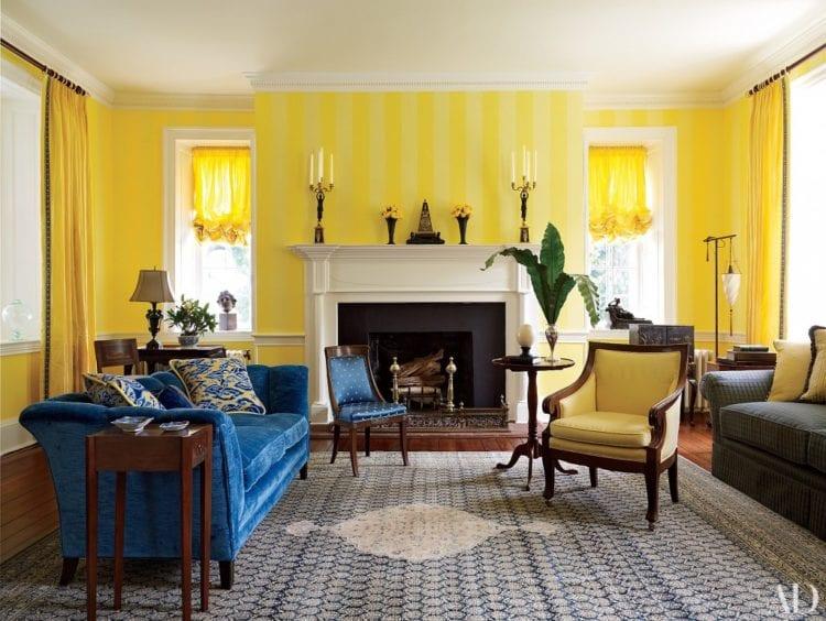 Как правильно сочетать желтый с другими цветами в интерьере гостиной