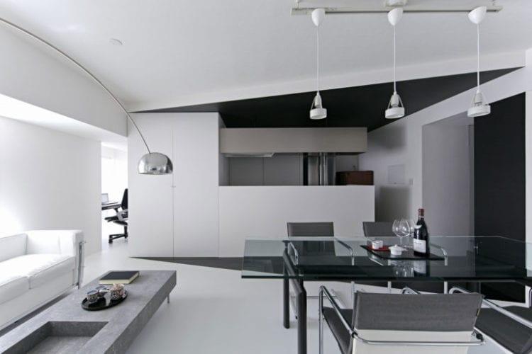 Серый интерьер гостиной в стиле хай-тек