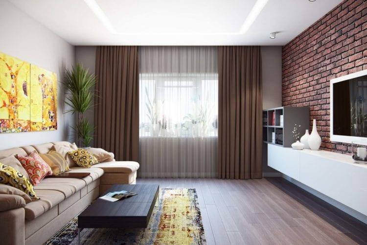Интерьер гостиной комнаты эконом-класса в современном стиле