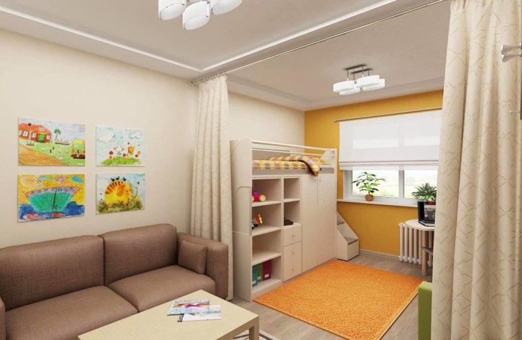 Детская и спальня в гостиной