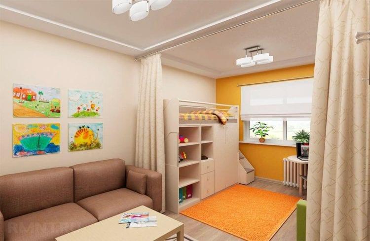 Разделение комнаты на 2 зоны, детскую и гостиную с помощь портьеры