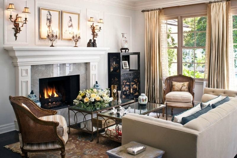 Гостиная с камином и телевизором: 50+ фото в интерьере, красивые ... | 535x800
