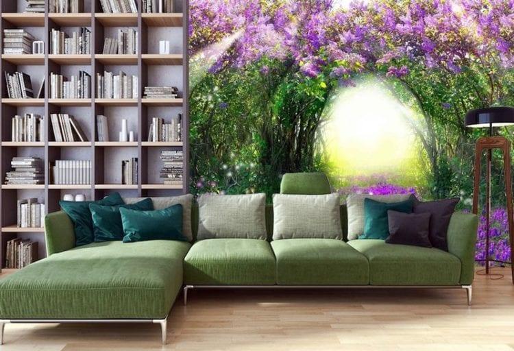 Фотообои над диваном гостиной