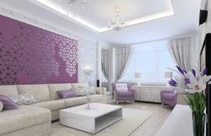 Гостиная в сиреневых тонах – изящный и романтичный интерьер