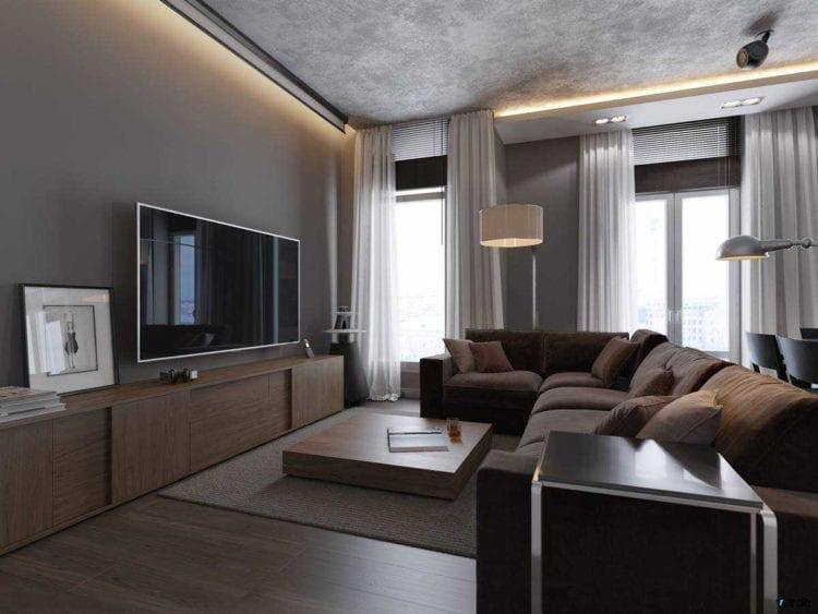 Серо-коричневая гостиная