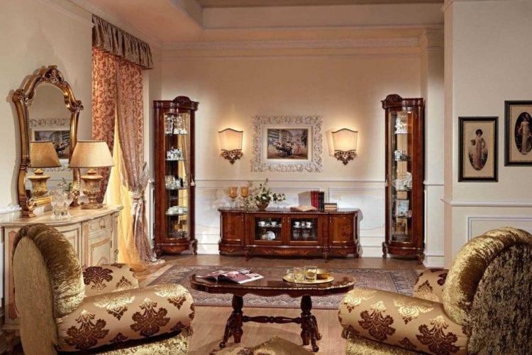 Витрины в гостиную в классическом стиле