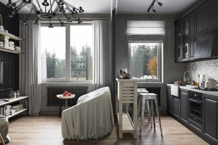 Дизайн кухни-гостиной в 20 кв. м с зонированием раздвижными перегородками