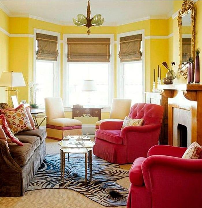 гостиная в серо-желтых тонах